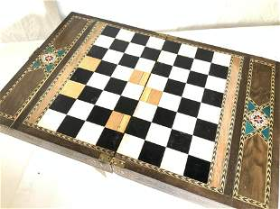 Handmade Folk Art Wood Chess Game Board
