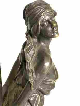 Signed Bronze & Marble Female Figural Lamp