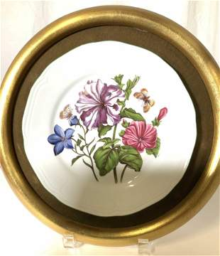 Mounted Hand Painted Botanical Porcelain Plate