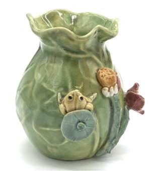 Vintage Glazed Majolica Vase with Frog Figural