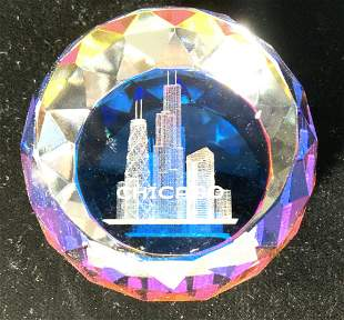 Crystal Faceted Paperweight of Chicago Highline