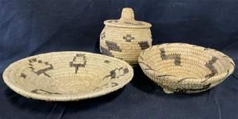 Group 3 Papago Indian handmade Baskets