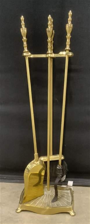 Set 3 Brass Fireplace Accessories