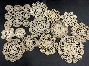 Lot 13 Vntg Handmade Doilies, Circles, Snowflakes
