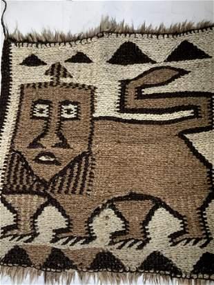 Vintage Woven Wool Tapestry, Animal Figural