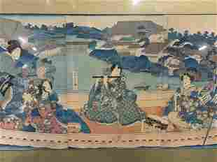 Japanese Woodblock Print of Boat Expedition
