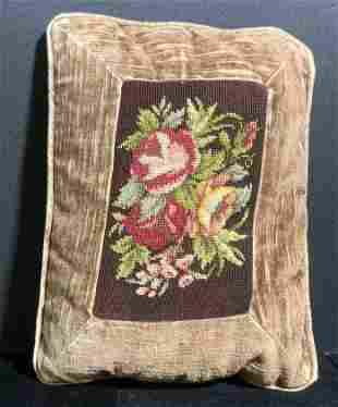 Handmade Vntg Rose Motif Needlepoint Throw Pillow
