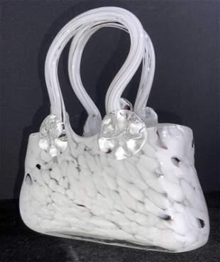Tabletop Purse Form Art Glass Sculpture