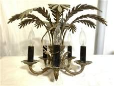 Victorian 5 Arm Ornate Brass Chandelier