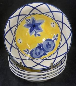 Set 4 Hand Painted MAGNOLIAS Bowls, Thailand