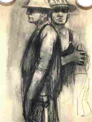 Charcoal Pastel Drawing of Construction Workers