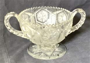 Lot 2 Saw Tooth Edge Cut Glass Retro Candy Dishes