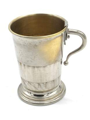 Vintage Collapsible Silver Tone Metal Teacup