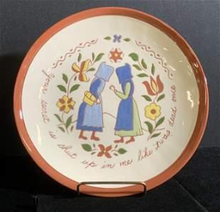 Vntg Handmade Artist Signed Ceramic Folk Art Plate