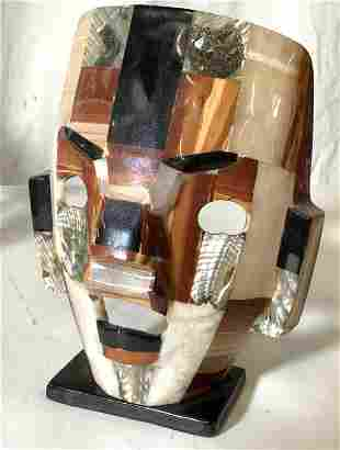 Natural Stone & Abalone Primitive Statue Mask