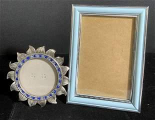 Lot 2 Blue Hued Metal Picture Frames