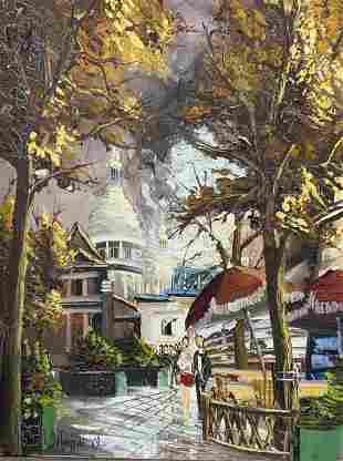 Signed Oil on Canvas Street Scene Artwork