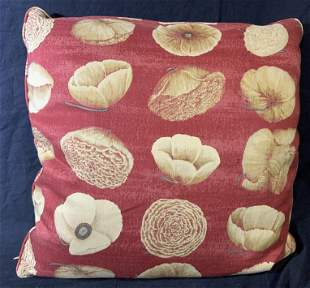 Yellow and Red Floral Pillow