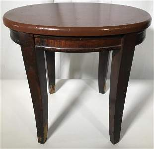 Vintage Carved Wooden Oval Shaped Side Table