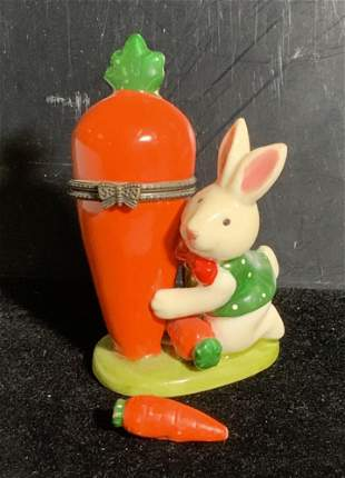 Rabbit and Carrot Porcelain Snuff Box, Collectible
