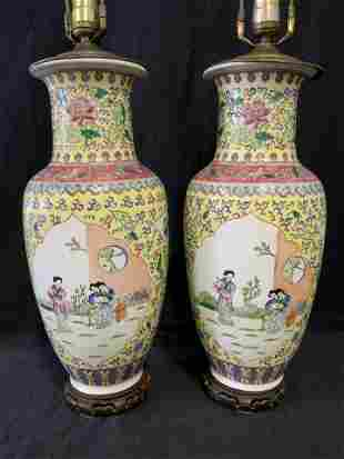 Pair Hand Painted Asian Lamps