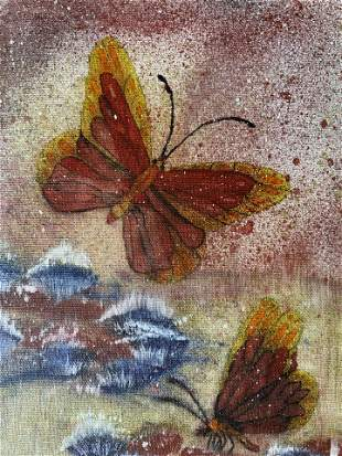 Signed Acrylic Painting of Butterflies 1988
