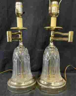 Pair Cut Glass Tabletop Lamps