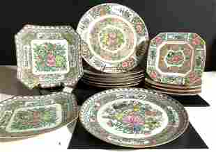 Set 13 Vintage Hand Painted China Dinner Plates