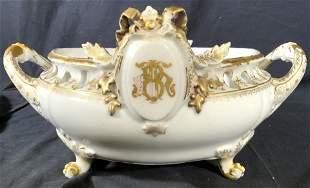 HA & CO Ornate Porcelain Footed Bowl W Handles