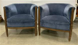 Pair Barrel Back Club Chairs