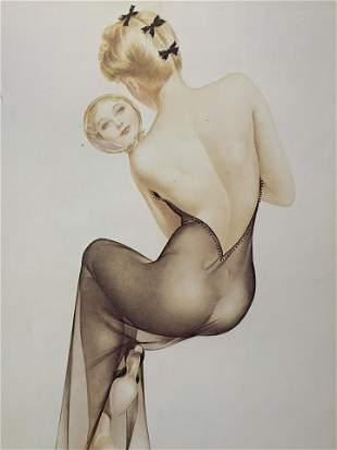 Vintage ALBERTO VARGAS Pin-up Girl Litho & Matting
