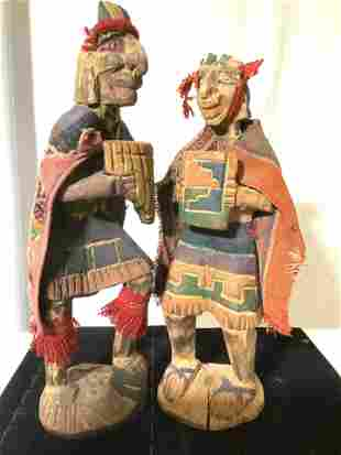 Pair Hand Crafted South American wood Figurals