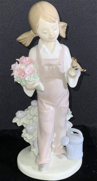 Handmade LLADRO Sig Porcelain Spring Girl Figural