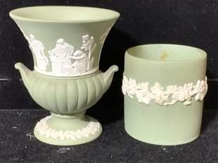 Pr Green Wedgwood Jasperware Vases England