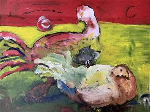 Signed Acrylic Painting of Chickens Artworks