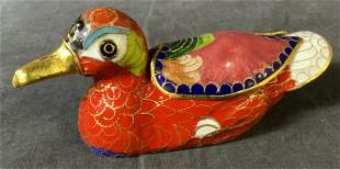 Asian Style Enameled Cloisonne Duck Trinket Box