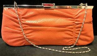 BIJOUX TERNER orange Snakeskin Style Clutch