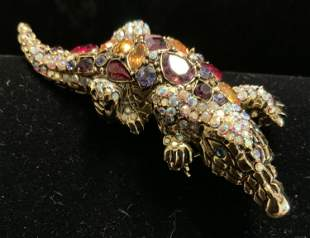 Signed Bejeweled Crystal Encrusted Alligator Pin