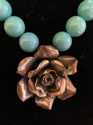 JRI Sterling Silver Turquoise Necklace w Rose