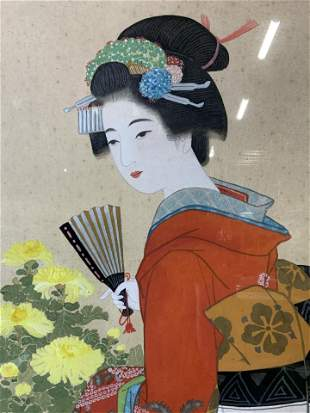 Hand Colored Japanese Lithograph Artwork