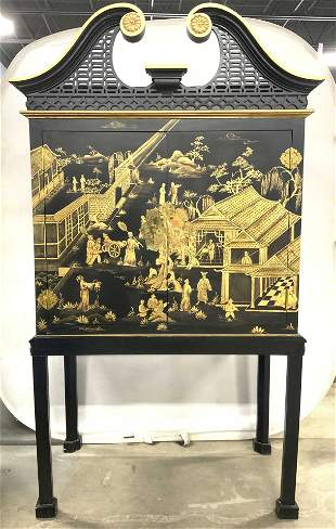Chinoiserie Asian Chest On Stand