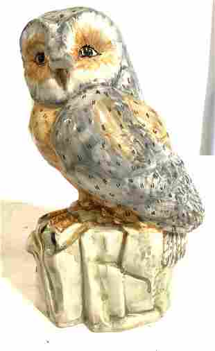 Hand Painted Porcelain Owl Marked ITALY