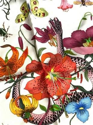 Signed GUCCI Italian Designer Silk Floral Scarf