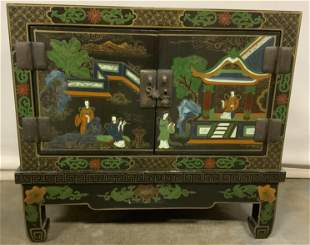 Vintage Asian Hand Painted Low Cabinet