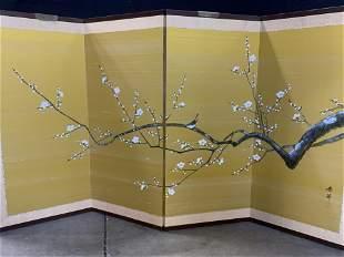 Signed 4 panel Asian Silk Screen