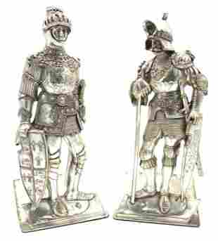 Silver Plated Knights In Medieval Armor Book Ends