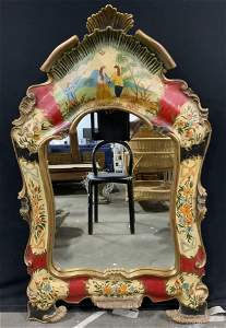 Vintage Hand Painted Gilt Wood Wall Mirror