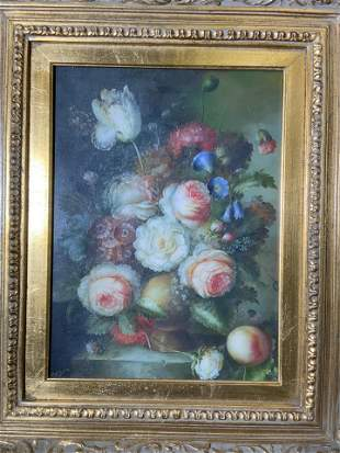 Signed Floral Still Life Oil on Canvas Artwork