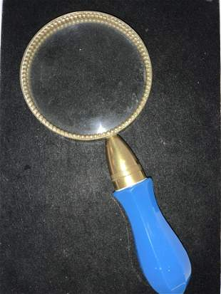 Collectible Vntg Opaline & Brass Magnifier