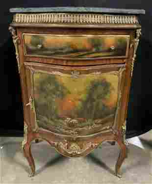 Vintage French Stone Top Bombe Chest